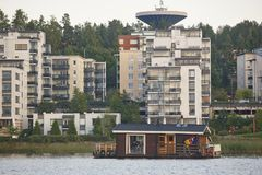Sauna and spa cruise, Jyvaskyla city. Finland traditional lifest Royalty Free Stock Photography
