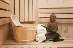 Sauna and spa. Finnish sauna with spa accessories Royalty Free Stock Photography