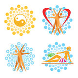 Sauna spa icons. Royalty Free Stock Images