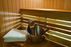 Sauna spa salon. Interior relaxation Stock Photos