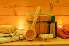 Sauna Spa Set in the Candlelight. Still life with Sauna Spa Set in the candlelight Royalty Free Stock Images
