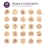 Sauna, steam bath line icons. Bathroom equipment birch, oak birch, bucket. Hammam, japanese, finnish russian, infrared Royalty Free Stock Photography
