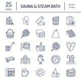 Sauna, steam bath line icons. Bathroom equipment birch, oak birch, bucket.  Stock Photos