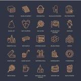 Sauna, steam bath line icons. Bathroom equipment birch, oak birch, bucket. Hammam, japanese, finnish, russian, infrared Stock Photography