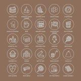 Sauna, steam bath line icons.. Sauna, steam bath line icons. Bathroom equipment birch, oak birch, bucket. Hammam, japanese, finnish, russian, infrared sauna Stock Photo