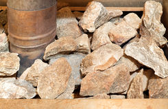 Sauna stove with stones Royalty Free Stock Images