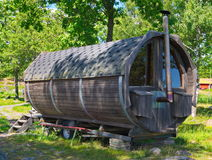 Sauna. Swedish barrel sauna in the swedish archipelago Stock Images