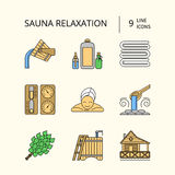 Sauna Theme Icon Set Stock Photography