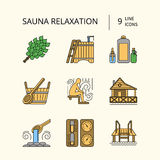 Sauna Theme Icon Set Stock Images