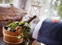Sauna time. Sauna Accessories: towel, soap and vihta Royalty Free Stock Photos