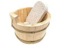 Sauna vat with pumice Stock Photos