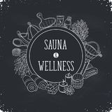 Sauna poster template. Sauna and wellness poster. Sauna accessories sketches in circle shape. Hand drawn spa items collection. Doodle sauna objects on chalkboard royalty free illustration