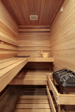 Sauna with wooded benches Royalty Free Stock Images
