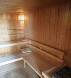Sauna Wooden Room, Bath House, Relax Spa. Japanese Style. Relaxation Stock Photo