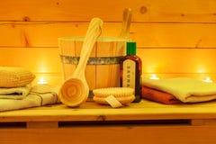 Sauna y accesorios de la sauna Imágenes de archivo libres de regalías