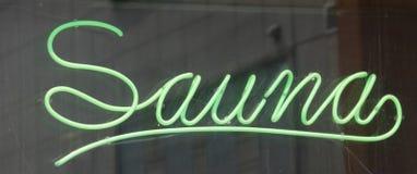 Sauna-Zeichen Stockfoto