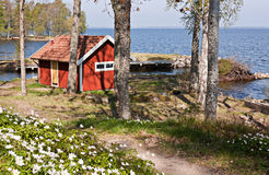 Sauna in Zweden. stock fotografie