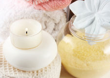 Sauna4. Burning candle and accessories for bath Royalty Free Stock Photography