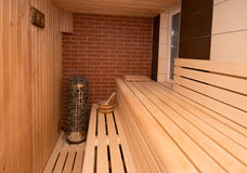 Saunainnenraum stockfotografie