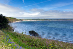 Saundersfoot Bay Pembrokeshire West wales. View from Monkstone point across Saundersfoot Bay Pembrokeshire West wales Stock Photography