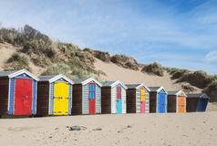 Saunton lixa cabanas da praia Foto de Stock Royalty Free
