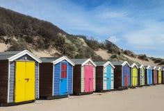 Saunton lixa cabanas da praia Imagem de Stock