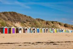 Saunton versandet Strand-Hütten Devon England Großbritannien lizenzfreie stockbilder
