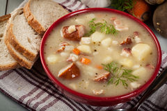 Saure Suppe gemacht vom Roggenmehl Lizenzfreie Stockbilder