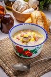 Saure Suppe mit Brot Stockfotografie