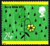 Saurer Regen tötet BRITISCHE Briefmarke stockfoto
