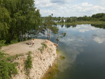 Sauriesi湖空中寄生虫顶视图拉脱维亚 免版税库存照片