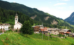Sauris di Sotto. The north east Italian vilage of Sauris - the village is a German-language island within Italy thanks to its proximity to the Austrian border Stock Images