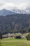 Sauris di sotto with the Church of the Holy Oswald. Sauris to German Zahre is a village in the Carinthian Alps, where is spoken German today Royalty Free Stock Photography