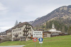 Sauris di sotto with the Church of the Holy Oswald. Sauris to German Zahre is a village in the Carinthian Alps, where is spoken German today Royalty Free Stock Images