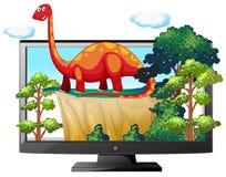 Sauropod on the computer monitor. Illustration Stock Photos