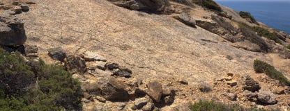 Sauropod Dinosaur footprint trail. Footprint trail of a small sauropod dinosaur on a rock. Cabo Espichel, Portugal royalty free stock photo