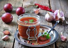 Saus voor geroosterd vlees van organische pruimen met koriander, knoflook en pimentbes Stock Afbeeldingen