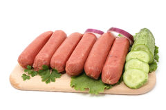 Sausage. Fresh sausages isolated on white Stock Image