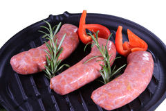 Sausage. Fresh sausage in white backgroun Royalty Free Stock Photos