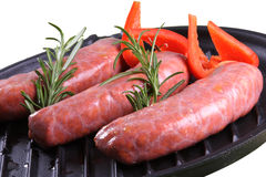 Sausage. Fresh sausage in white backgroun Stock Photo
