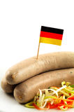 Sausage. Typical german sausage with flag Royalty Free Stock Photos