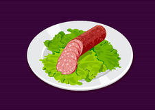Sausage. Sliced sausage with salad on the white plate Royalty Free Stock Photo