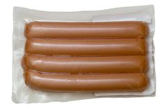Sausage. In vacuum package. isolated Royalty Free Stock Photos