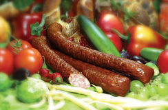 Sausage. Photo of the polish sausage Stock Images