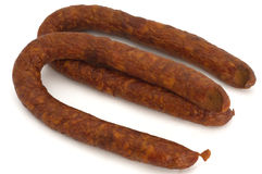 Sausage. Two circles of smoked sausage stock photography