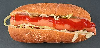 Sausage. Fast Food Imag sausage and salad Stock Images