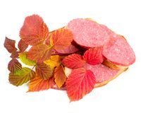Sausage. With bread sandwich with branch of autumn raspberry on white background Stock Image
