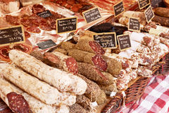 Sausage in Aix en Provence. Sausage on a market stand in Aix en Provence, France Royalty Free Stock Photos