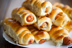 Sausage baked in dough Stock Image