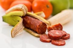 Sausage In A Banana Peel  Stock Photography